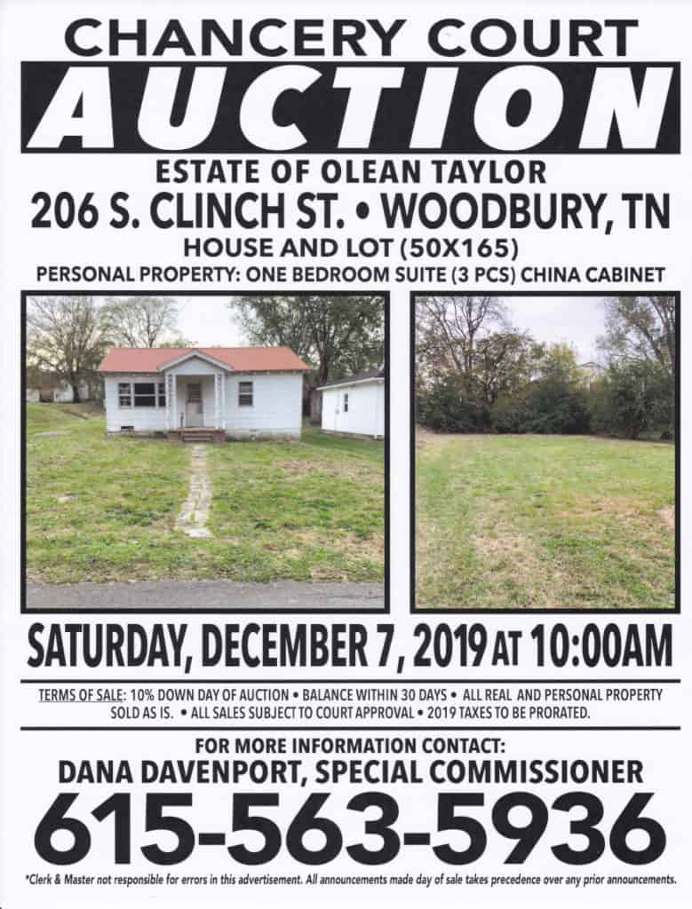 Chancery Court Auction Flyer