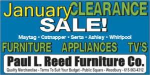 January Sale Paul Reed Furniture